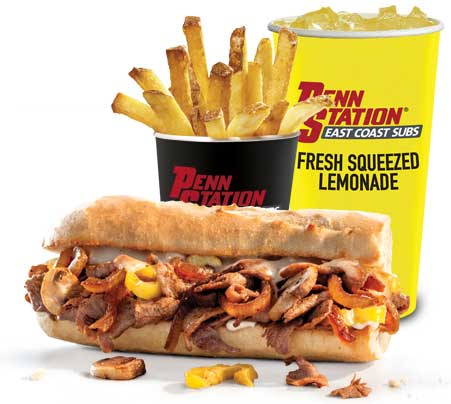 Penn Station signature cheesesteak, fries and lemonade